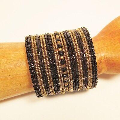 "3/"" Wide Copper Color Handmade Boho Seed Bead Bali Cuff Statement Bracelet"