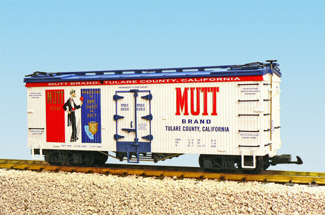 USA Trains G Scale U.S. REEFER CAR R16411 Mutt Brand Oranges White/Blue