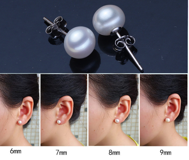 NEW 14k Yellow Gold 6-7mm Grey Button FW Cultured Pearl Stud Post Earrings