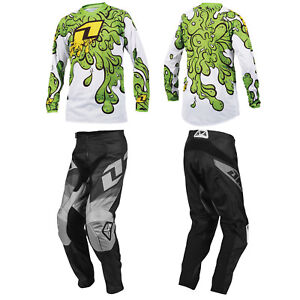 ONE-INDUSTRIES-YOUTH-BLACK-ATOM-MOTOCROSS-PANTS-SLIME-GREEN-JERSEY-childs-kit