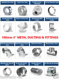 Metal 4 Inch 100mm Dia Ducting Parts N Fittings For 4
