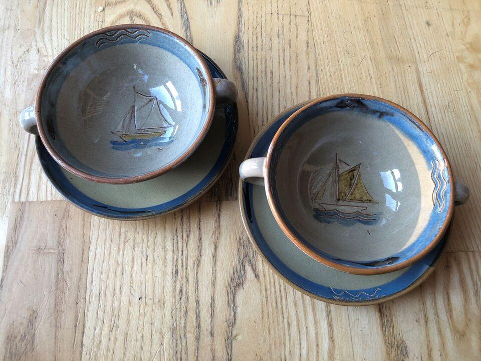 Keramik, Suppeskåle med underkopper, Knabstrup