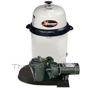 Hayward xstream 100 above ground swimming pool filter system w 1 hp pump ebay for Swimming pool filter and pump systems
