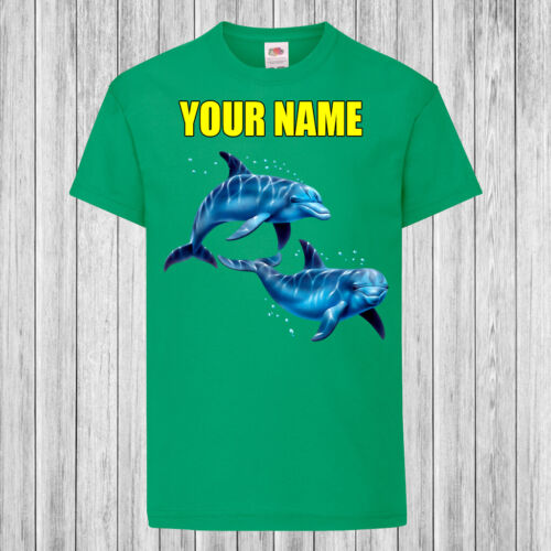 Children Kids T-Shirt DTG Personalized with name Dolphins Swimming
