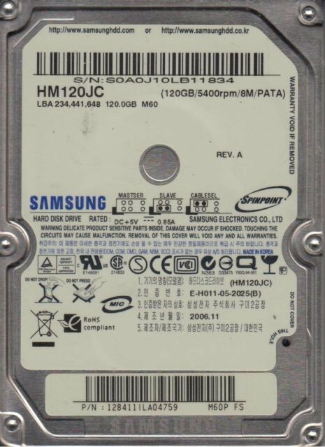 NEW 120GB Samsung PC Laptop HARD DRIVE HM120JC HM120HC HM121HC HM120IC IDE PATA