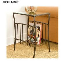 Metal Accent Table End Black Side Glass Sofa Chair Clear Magazine Rack  Holder