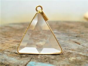SUPERClear-Quartz-VOGEL-Triangle-18K-GOLD-on-SILVER-Setting-Pendant-Super-Energy