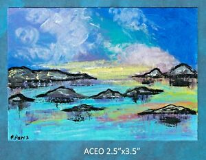 Original-ACEO-Abstract-landscape-miniature-acrylic-painting-not-framed