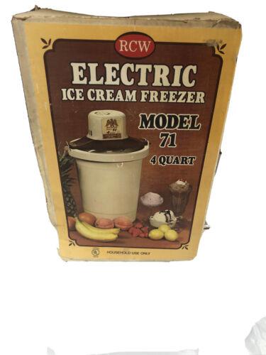 RCW Electric Ice Cream Freezer Model 71 Four Quart- Looks Unused- See Pics