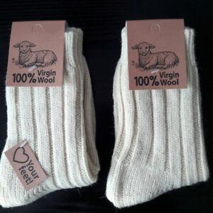 a6f1a8e52 2 Pair Warm Women's Socks Made of 100% Wool Virgin Wool Ecru / Natur ...