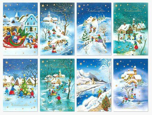 25 Stück Weihnachtskarten Grußkarten aufklappbar gezeichnet 1 a Qualität NEU