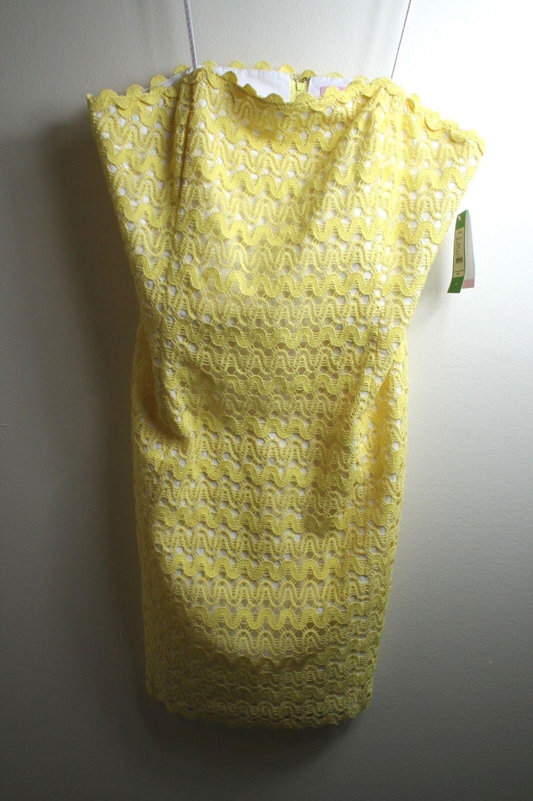 298 Lilly Pulitzer Lakeland Starfruit Yellow Ric Rac Lace Strapless Dress 14