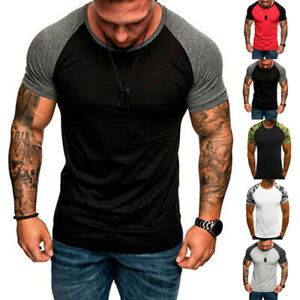 Men-Casual-Short-Sleeve-Camouflage-T-shirt-Training-Slim-Fit-Top-Muscle-Tee