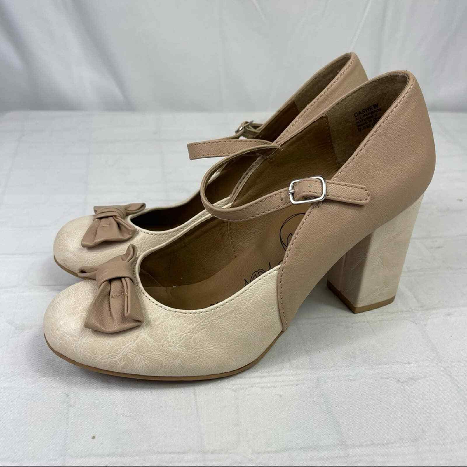 Jelly pop nude bow Mary Jane pumps - image 1