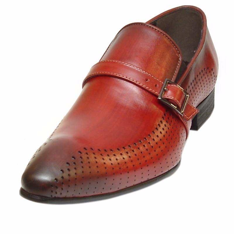 merce di alta qualità e servizio conveniente e onesto Fiesso Uomo Rosso Shaded Shaded Shaded pelle Monk Cinturino Trendy Slip On Abito Scarpe Casual  prezzi bassi di tutti i giorni