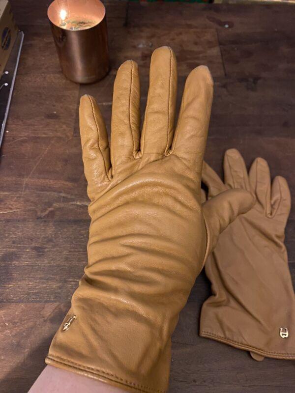 Etienne Aigner Camel Leather Gloves, Soft Knit Lining