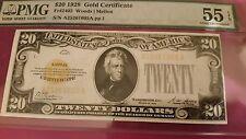 1928 $20 Gold Certificate Pmg55