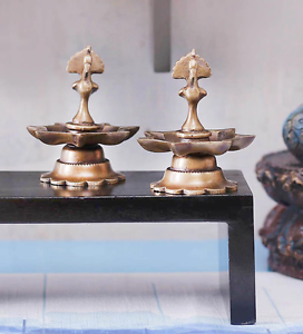 Brass Peacock Oil Diya Burner Pair Decor Festive Diwali Pooja lamp Candlestick