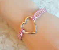 Faceted Pink Crystals With Silver Heart Beaded Leather Single Wrap