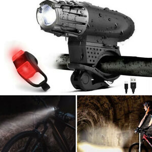 8-4V-5000-Lumen-Rechargeable-Cycling-Light-Bike-Bicycle-LED-Front-Rear-Lamp-Set