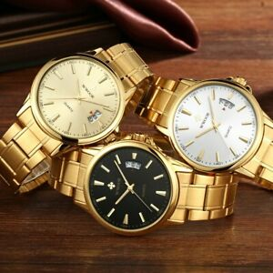 WWOOR-Mens-Fashion-Gold-Steel-Watch-Quartz-Analog-Date-Male-039-s-Wrist-Watches-New