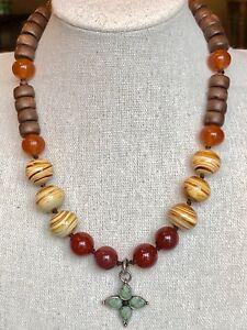 Carnelian Beaded Necklace with Carnelian Pendant.
