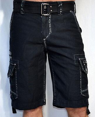 Affliction Black Premium Men's - LIQUID SKY Cargo Shorts - NEW - WS051 - Black