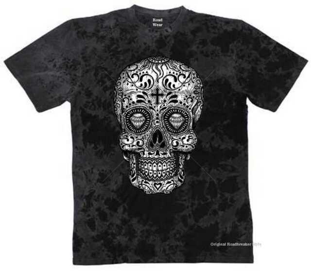 T Shirt Batik black Gothik Vintage Biker Oldschool&Tattoomotiv Modell Mexican Sk