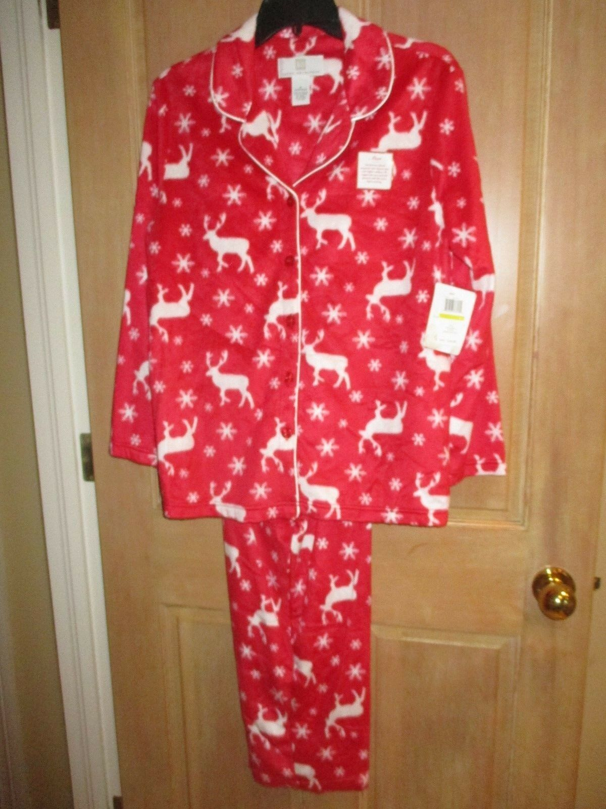 NEW KAREN NEUBURGER 1X FLEECE Pajamas L S PJ's LONG PANTS Red Snowflakes Deer