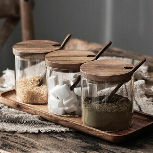 1X Glass Seasoning Jar Spice Container Salt Jars Condiment Pot W//Lid and Spoon