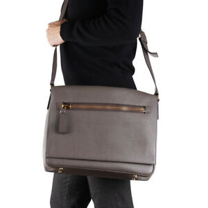 85490272428b New $2950 TOM FORD 'Buckley' Gray-Brown Grained Leather Shoulder ...