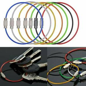 5pcs-Stainless-Steel-Wire-Rope-Keychain-Key-Ring-Cable-For-Outdoor-Hiking-Sport
