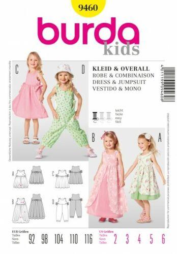 Gr Kleider burda Schnittmuster // pattern 9460 92-116 Overall für Mädchen