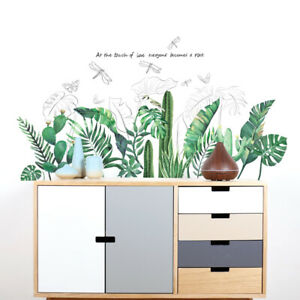 Tropical-Leaves-Green-Plant-Wall-Stickers-Vinyl-Decal-Living-Room-Art-Mural-Reli
