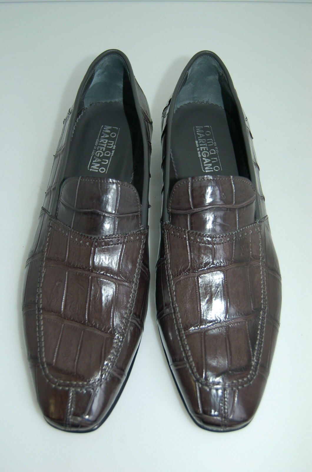MAN - 44- 10 eu - MOCASSIN -GENUINE grigio ALLIGATOR-VERO ALLIGATORE- LEATHER SOLE | Autentico