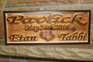 Personalized Custom Wooden Sign Plaque Couple Name Carved Wood Signs ...