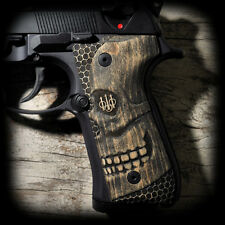3D SKULL Beretta 92F 92FS Pistol Grips engraved hard maple AWESOME
