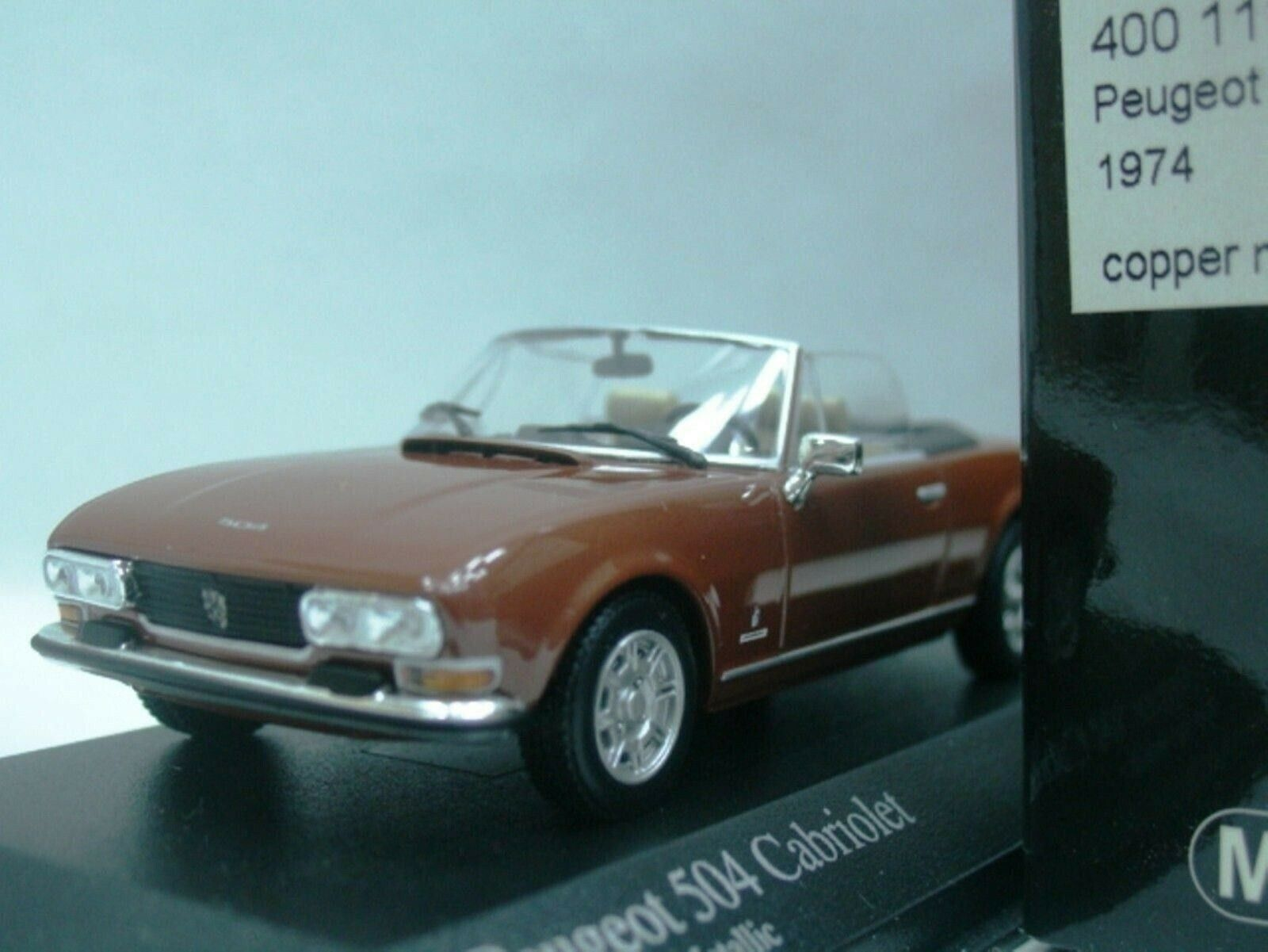 WOW EXTREMELY RARE Peugeot 504 Cabriolet 1974 Brown 1 43 Minichamps-205 404 GTi