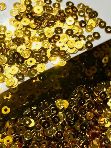 Sequins Tiny 3mm Brass Gold Metallic Round Flat Choose Pack Size Doll Size