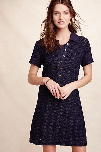 Diamond-Knit Shirtdress XXSP PXXS Dress By Moth NWT