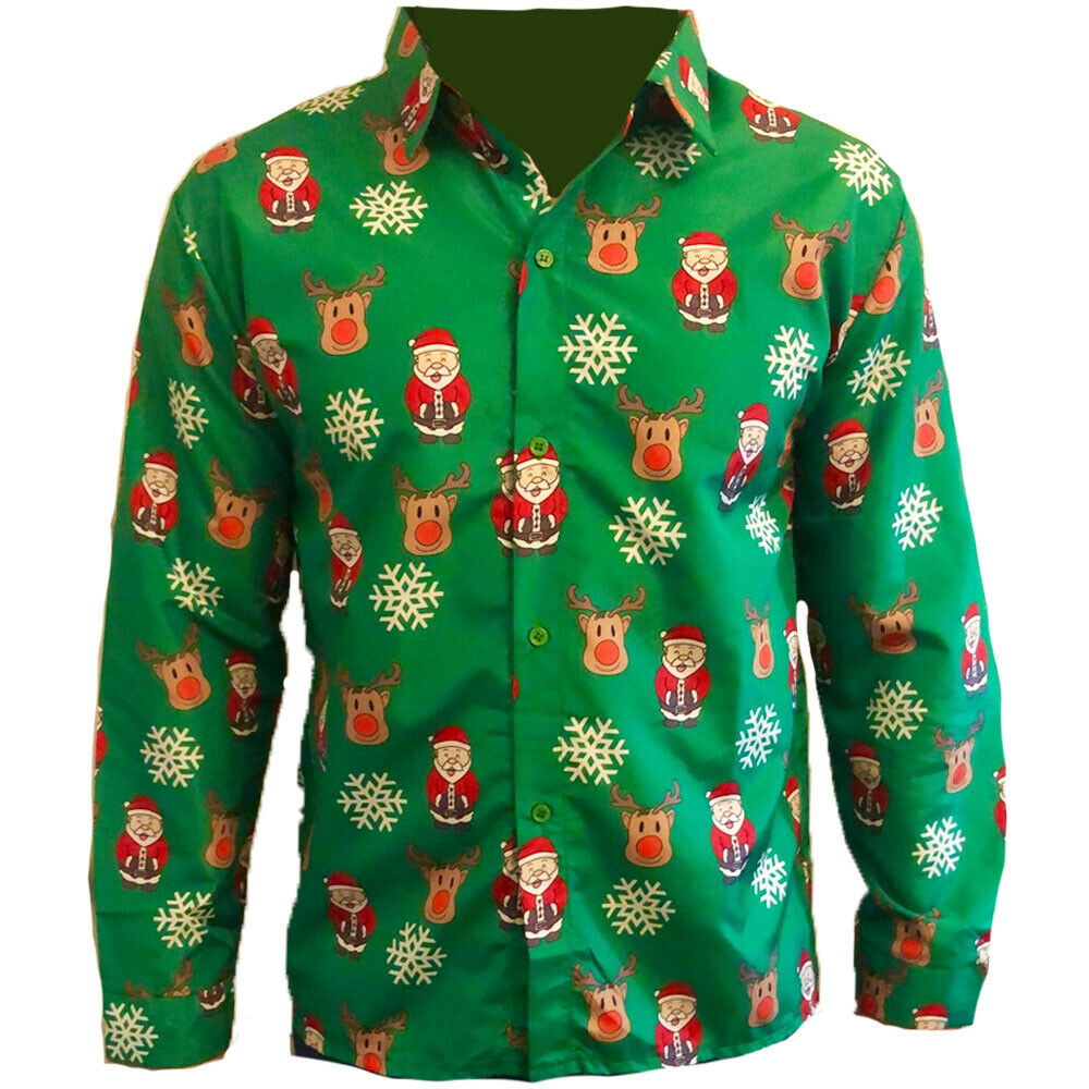 GREEN SANTA REINDEER CHRISTMAS SHIRT