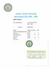 JIMMY GUNNING MANCHESTER CITY 1950-1953 RARE ORIGINAL HAND SIGNED CUTTING/CARD