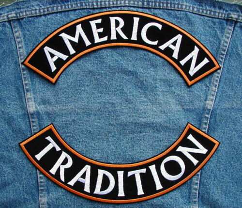 AMERICAN TRADITION Rockers Biker Motorcycle Patch by DIXIEFARMER Flare Font