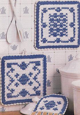 Crochet Pattern ~ Dutch Look Kitchen Set - Towel & Pot Holder ~ Instructions
