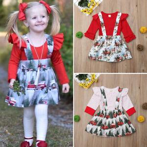 3661581cf3f7 US Newborn Toddler Kid Baby Girl Xmas Romper Tops Suspender Dress ...