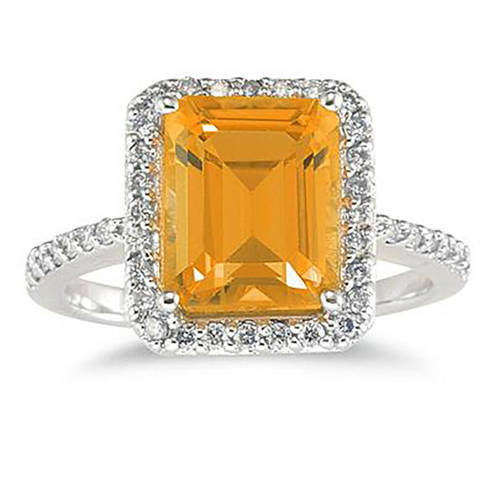 4 1 2 Carat Emerald Cut Citrine and Diamond Ring 14K White gold