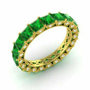 4.40 Ct Real Diamond Emerald Eternity Bands 14K Yellow Gold Rings Size L M N O J