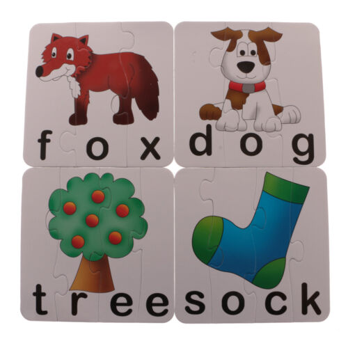 Mixed Cognitive Card Puzzles Self-Correcting Jigsaw Kids Words Card Game