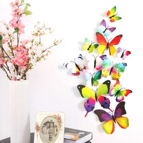 12Pcs//set 3D PVC Magnet Colorful Butterflies DIY Wall Sticker Home Decoration