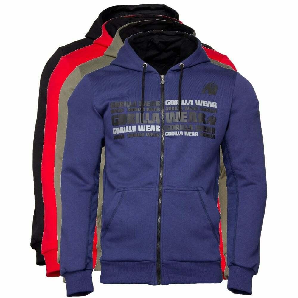 Gorilla Wear Bowie Mesh zipped hoodie Fitness Bodybuilding Con Cappuccio Giacca